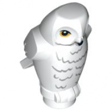 LEGO 92084pb03 Owl, Angular Features with Black Beak, Yellow Eyes and Light Bluish Gray Rippled Chest Feathers Pattern (HP Hedwig)