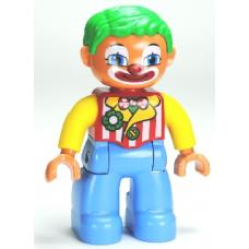 LEGO DUPLO 30066 47394pb151: Duplo Figure Lego Ville, Male Clown, Medium Blue Legs, Striped Jacket, Bow Tie, Green Hair