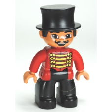 Duplo   47394pb152 Figure Lego Ville, Male Circus Ringmaster, Black Legs, Red Top with Gold Braid, Top Hat, Brown Eyes