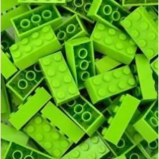 Lego blokje  Lime groen graveren met naam en ingekleurd