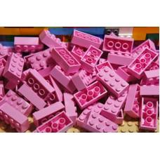 Lego blokje  roze graveren met naam en ingekleurd