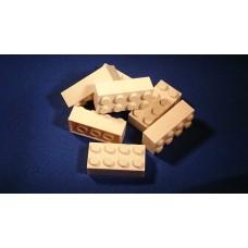 Lego blokje  WIT graveren met naam en ingekleurd