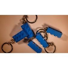 Lego blokje als sleutelhanger Blauw graveren met naam en ingekleurd