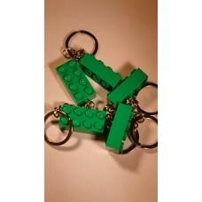 Lego blokje als sleutelhanger Groen graveren met naam en ingekleurd