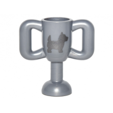 LEGO 10172pb001 Flat Silver Minifig, Utensil Trophy Cup Small with Silver Terrier Dog Pattern