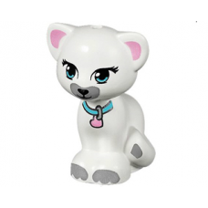 LEGO 11602pb02 White Cat, Friends / Elves, Sitting with Medium Azure Eyes and Collar with Bright Pink Heart Tag, Black Nose and Light Bluish Gray Patches Pattern (Jewel)