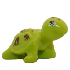 LEGO 11603pb01 Lime Turtle, Friends with Bright Light Blue Eyes and Reddish Brown Spots Pattern