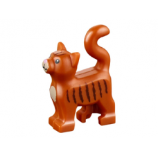 LEGO 13786pb02 Cat, Standing with Dark Tan Chest and Muzzle, Dark Brown Stripes and Bright Pink Nose Pattern