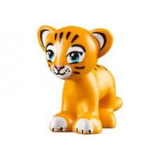 LEGO 14734pb03 Bright Light Orange Lion / Tiger, Friends / Elves, Cub with Medium Azure Eyes, Dark Pink Nose and Dark Brown Stripes Pattern (Rajah)