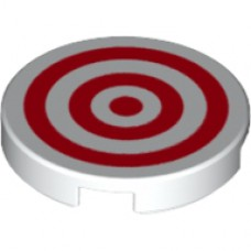 LEGO 14769pb186 White Tile, Round 2 x 2 with Bottom Stud Holder with Red Circles Pattern