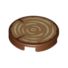 LEGO 14769pb196 Reddish Brown Tile, Round 2 x 2 with Bottom Stud Holder with Tree Trunk, Wood Grain Pattern
