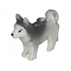 LEGO 16606pb001 White Dog, Husky with Black Eyes, Black Nose and Marbled Dark Bluish Gray Ears and Back Pattern