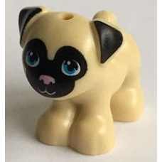 LEGO 24111pb01 Tan Dog, Friends, Pug, Standing with Black Face and Ears, Bright Pink Nose and Dark Azure Eyes Pattern (Toffee)