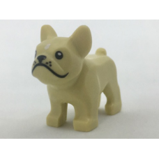 LEGO 29602c01 Tan Dog, Bulldog with Black Eyes, Nose, Mouth and Whiskers and White Spot on Forehead Pattern