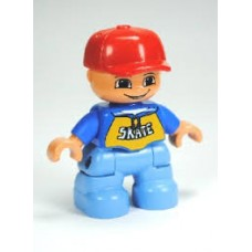 LEGO 30063 47205pb024 Duplo Figure Lego Ville, Child Boy, Medium Blue Legs, Blue Top with 'SKATE' Pattern, Red Cap