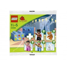 LEGO 30066 Duplo Circus polybag Duplo Figure Lego Ville, Male Circus Ringmaster, Black Legs, Red Top with Gold Braid, Top Hat, Brown Eyes