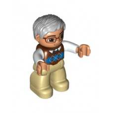 LEGO 47394pb174 Duplo Figure Lego Ville, Male, Tan Legs, Reddish Brown Argyle Sweater Vest, White Arms, Light Bluish Gray Hair, Glasses (30324)
