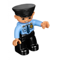LEGO 47394pb169 Duplo Figure Lego Ville, Male Police, Black Legs, Medium Blue Top with Badge, Black Hat (30324)