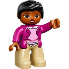 LEGO 47394pb214 Duplo Figure Lego Ville, Female, Tan Legs, Magneta Jacket and Pink Blouse Pattern, Black Hair, Brown Eyes (30324)