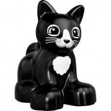 LEGO 17865pb02 Black Duplo Cat Kitten Sitting with Black Eyes and Whiskers and White Chest and Nose Pattern (30324)