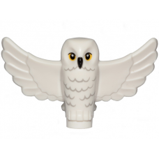 LEGO 67632pb01 White Owl, Spread Wings with Black Beak, Yellow Eyes and Light Bluish Gray Rippled Chest Feathers Pattern (HP Hedwig)
