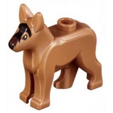 LEGO 92586pb01 Medium Nougat Dog, Alsatian / German Shepherd with Black Eyes, Nose, Blaze and Dark Brown Muzzle Pattern