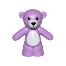 LEGO 98382pb007 Medium Lavender Teddy Bear with Black Eyes, Nose and Mouth and White Stomach and Muzzle Pattern