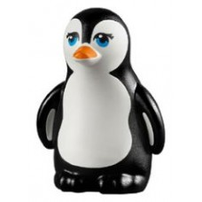 LEGO 14733pb01 Black Penguin, Friends with Dark Azure Eyes, Orange Beak and White Face and Belly Pattern