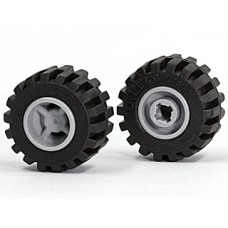 LEGO 6014bc04 Lego Wheel 11mm D. x 12mm, Hole Notched for Wheels Holder Pin with Black Tire 24 x 12 R Balloon (6014b / 56890)