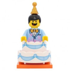 LEGO 71021 col18-10 Birthday Cake Guy - Complete Set with Stand