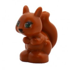 LEGO 11568pb01 Dark Orange Squirrel, Friends / Elves with Black, Green and White Eyes and Black Eyelashes, Nose and Mouth Pattern