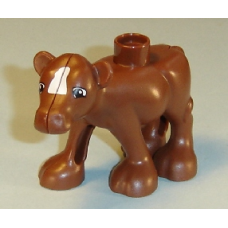 LEGO dupcalf1c01pb01 Reddish Brown Duplo Cow Baby (Calf) Front Leg Forward with White Blaze Pattern