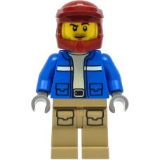 LEGO  city1294 Wildlife Rescue Explorer - Male, Blue Jacket, Dark Red Helmet, Dark Tan Legs with Pockets, Beard baard