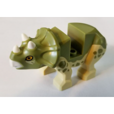 LEGO bb1151c01pb01 Dinosaur Triceratops Baby with Olive Green Top with White Horns and Beak Patte