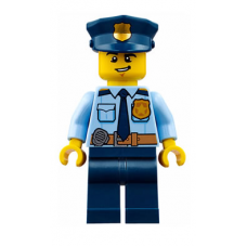 LEGO cty0743 Police - City Shirt with Dark Blue Tie and Gold Badge, Dark Tan Belt with Radio, Dark Blue Legs, Police Hat with Gold Badge, Lopsided Grin