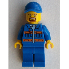 LEGO cty556 Blue Jacket with Pockets and Orange Stripes, Blue Legs, Blue Cap with Hole, Brown Moustache and Goatee